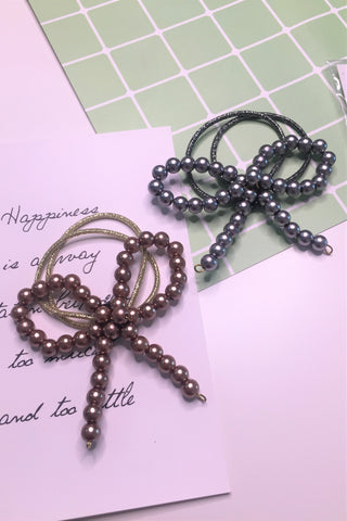Pearl Ribbon Hair Band Brown