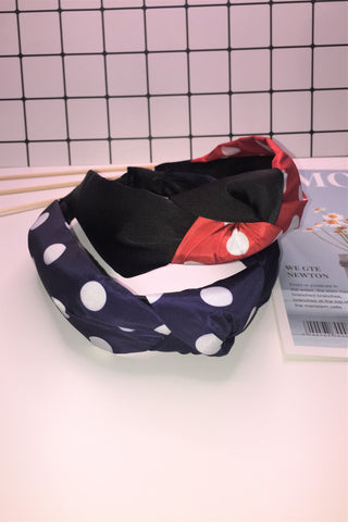 Twisted Knotted Polka Dot Headband Navy Blue