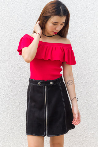 Evans Skirt in Black Suede