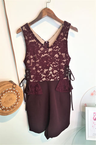 Clara Lace Romper in Mulberry