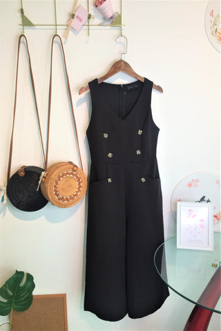 Layla Button Jumpsuit in Dusty Black