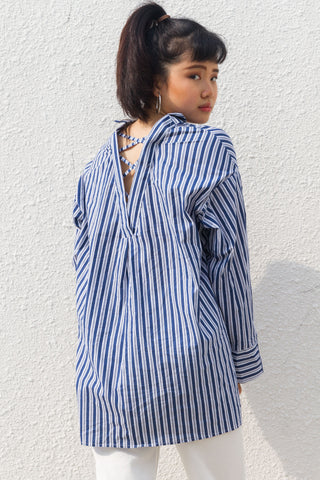 Gelbero Oversized Top in Pinstripes