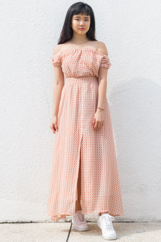 Leal Off-Shoulder Maxi Dress in Geometry Print