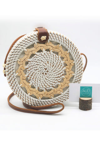 [HANDCRAFTED] Braided White Rattan Bag