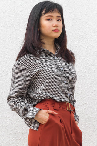 Alix Shirt Top in Black Gingham