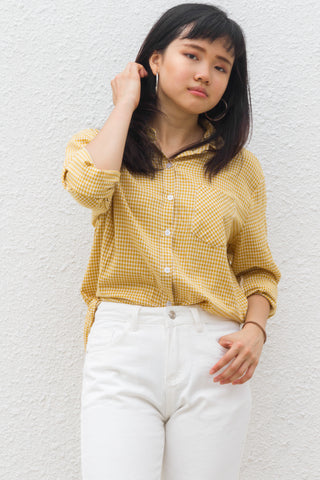 Alix Shirt Top in Yellow Gingham
