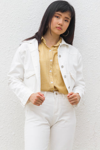 Maddy Jacket in White Denim