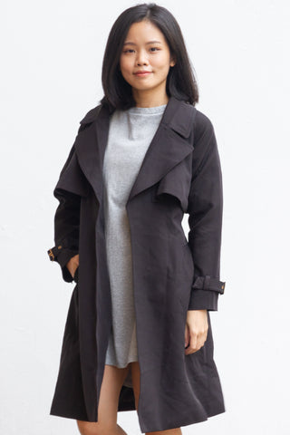 Galenka Belted Classic Trench Coat in Black