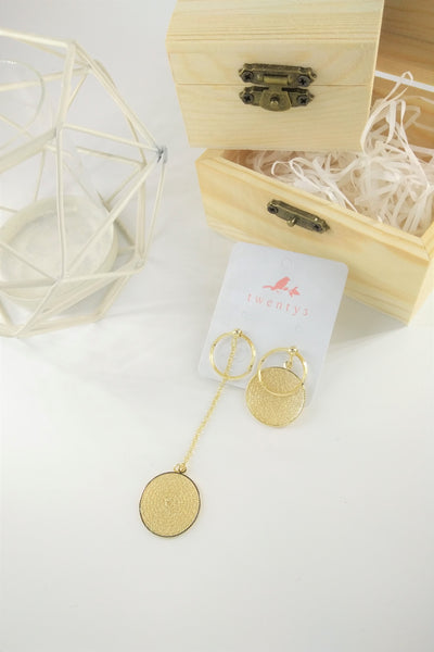 Asymmetrical Gold Plate Earrings
