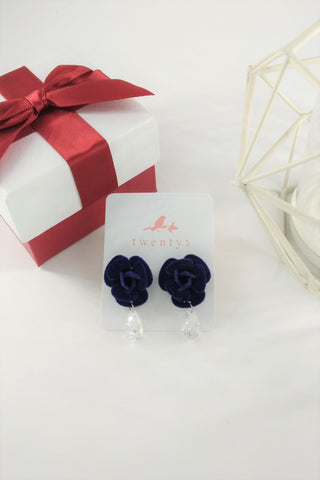 Suede Purple Flower Earrings