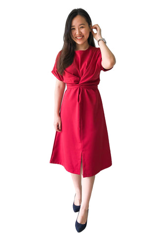 Chevy Midi Dress in Burgundy