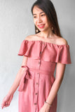 Fifine Off Shoulder Midi Dress in Dusty Pink