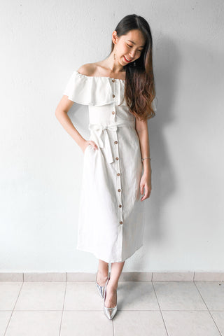 Fifine Off Shoulder Midi Dress in White