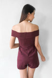 Dorreene Off Shoulder Playsuit in Mulberry