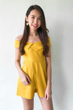 Dorreene Off Shoulder Playsuit in Mustard