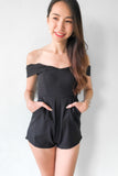 (Petite) Diddinna Off Shoulder Playsuit in Black