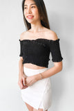 Juliette Off Shoulder Crop Top in Black