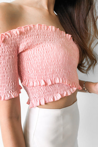 Juliette Off Shoulder Crop Top in Pink