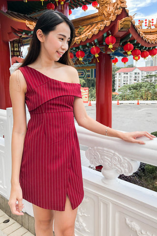 Tyeson Bodycon Toga Dress in Burgundy Pinstripes