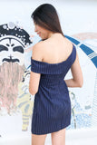 Tyeson Bodycon Toga Dress in Navy Blue Pinstripes