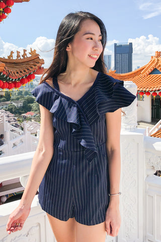 Edgard Playsuit in Navy Blue Pinstripes