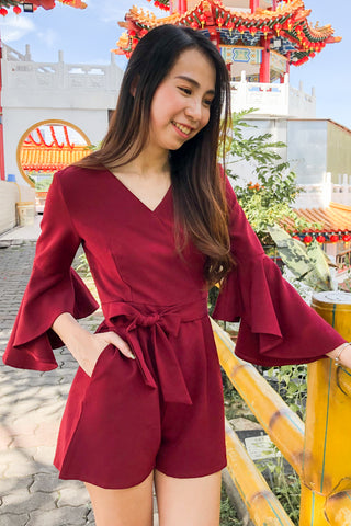 Taillefer Playsuit with Bell Sleeves in Burgundy