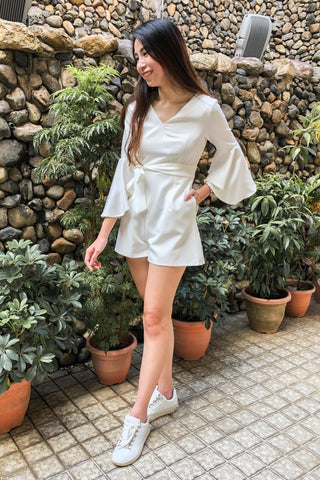 Taillefer Playsuit with Bell Sleeves in White