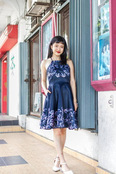 Natilee Dress in Navy Blue