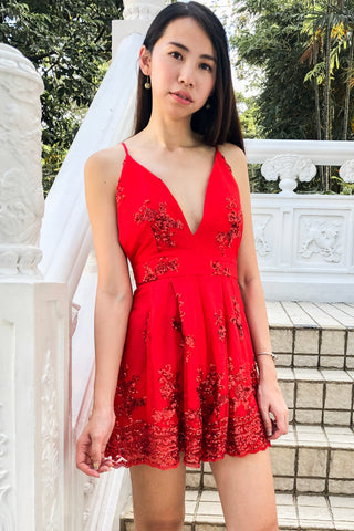 Nancy Playsuit with Sequins in Red