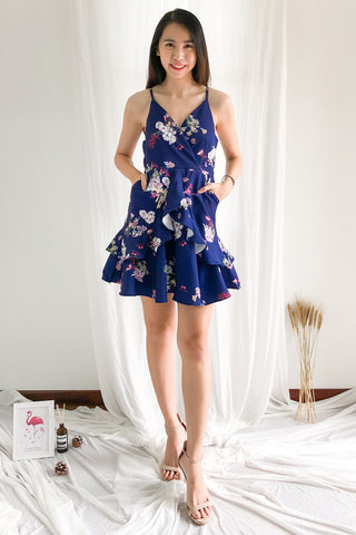 Adelia Floral Dress in Navy Blue