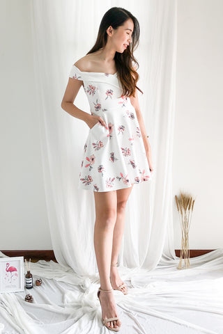 Afrodille Off Shoulder Floral Dress in White