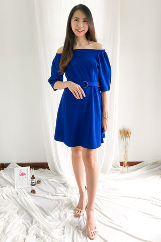 Nadine Off Shoulder Dress in Cobalt Blue
