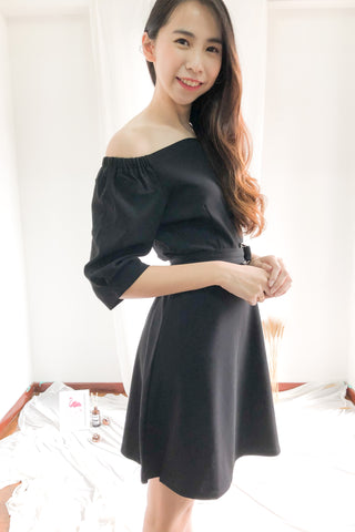 Nadine Off Shoulder Dress in Black