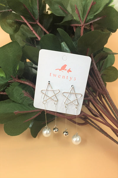 Silver Star Drop Pearl Earrings