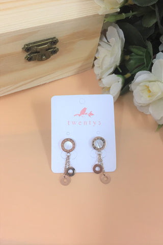 Rose Gold Wheel Drop Earrings