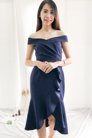 Kathryn Aysmmetrical Fish Tail Dress in Navy Blue