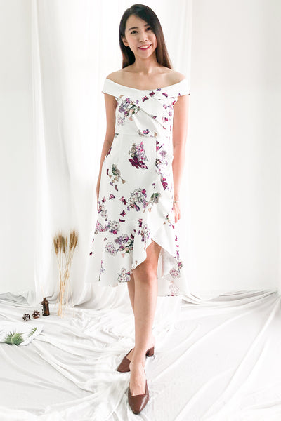 Kathryn Aysmmetrical Fish Tail Dress in Florals