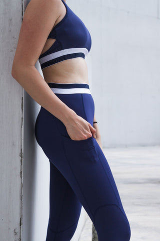 Mitzie Side Mesh Panel Leggings in Navy Blue
