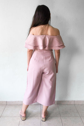 Garland Off Shoulder Jumpsuit in Dusty Pink