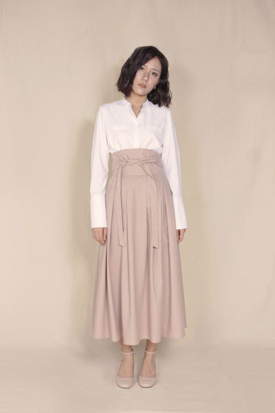 BACK-ORDER : Kimono Long Skirt in Tan