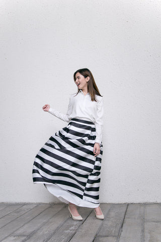 Celine Maxi Skirt in Stripes - Bottoms - Twenty3