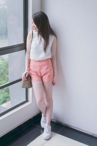 Twenty3 - Misty Printed Organza Shorts in Salmon Pink -  - Bottoms - 1