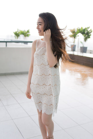 Vera Lace Overlay Shift Dress in White - Dresses - Twenty3