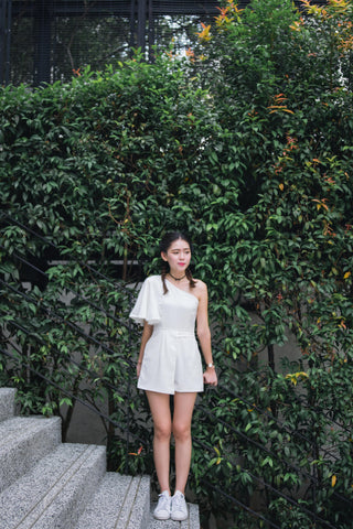 Twenty3 - Silvia One Shoulder Playsuit in White -  - Romper - 1