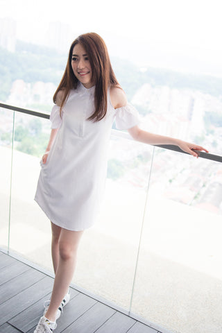 Twenty3 - Monet Cold Shoulder Dress in White -  - Dresses - 1