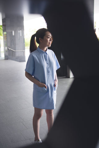 Jeanette Shirt Dress in Light Blue - Dresses - Twenty3