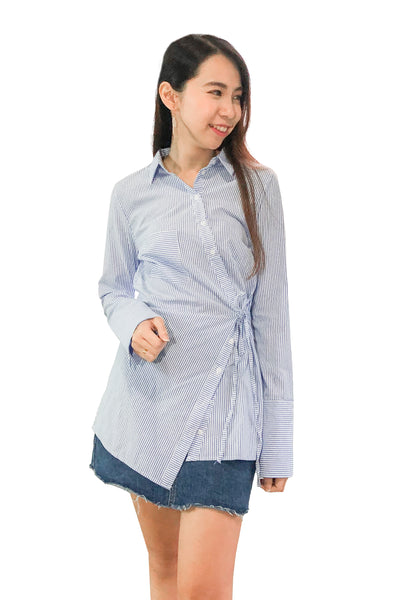 Azurine Shirt Top in Pinstripes