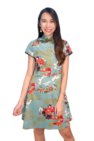 Charmainne Cheongsam Dress in Green Prints