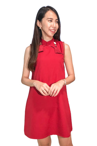 Remmise Cheongsam Dress in Red