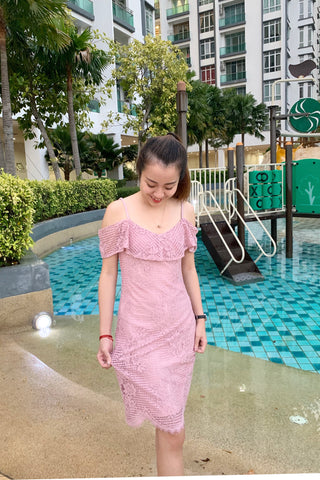 Quinny Lace with Cold Shoulder Dress in Pink